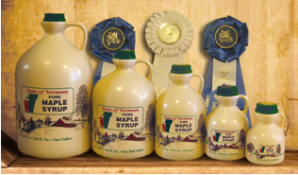 Our Pure Vermont Maple Syrup in plastic jugs